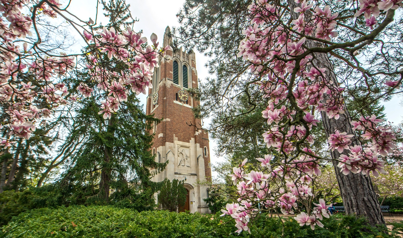Spring View of Beaumont Tower at MSU